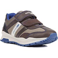 GEOX Boy's CORIDAN 8 Sneaker Dual Riptape Strap, BRWN, Brown Beige, 33 M EU Little Kid (2 US)