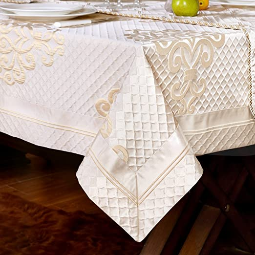 Christmas Tablescape Decor - Elegant European style champagne luxury minimalist modern jacquard tablecloth