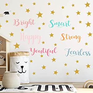 6 Sheets Colorful Vinyl Wall Decals Inspirational Wall Stickers Quote Sayings Vinyl Wall Quotes for Girls Room Decor Positive Quote Classroom Decorations DIY Decoration
