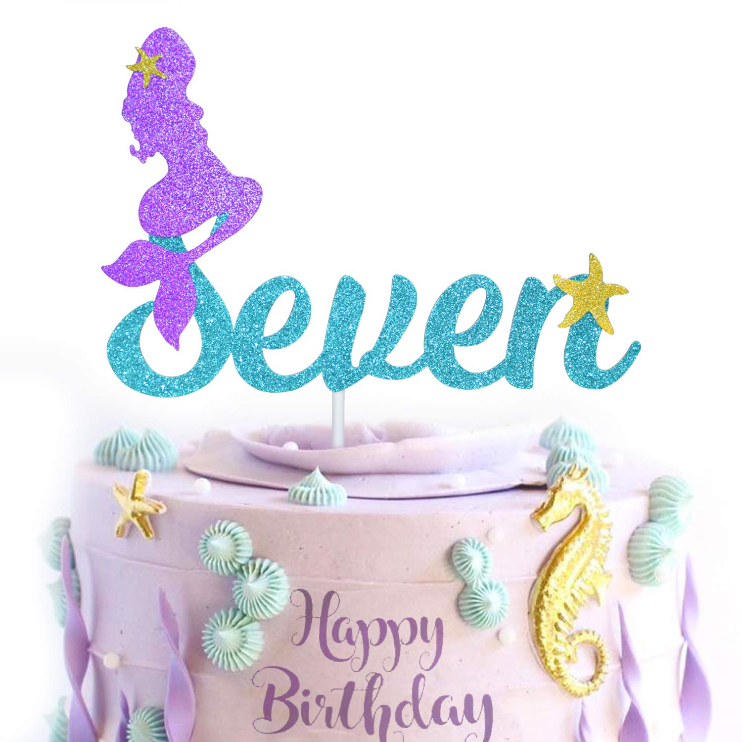 7th Mermaid Happy Birthday Cake Topper Blue Gold Glitter Under The Sea Theme Photo Decor Picks for Baby Shower and Wedding Party Seven Years Old Decorations Supplies