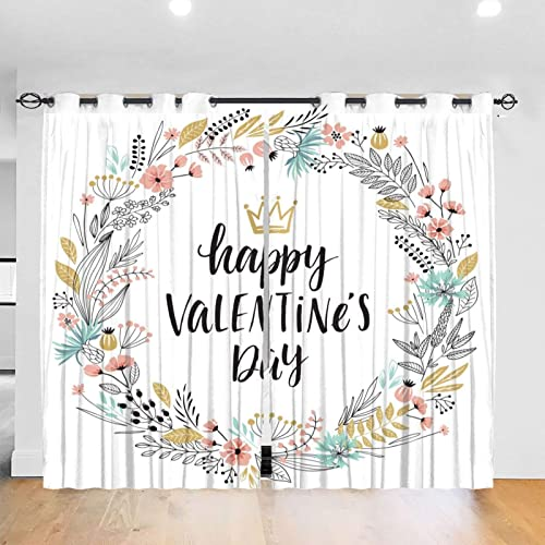 Valentine's Day Calligraphic Wreath Curtains Decorative Thick Darkening Drape