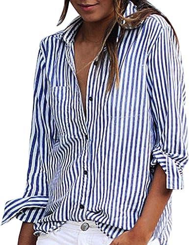 Camisetas Long Corto para MujerEUZeoCasual Suelto Rayas botón ...