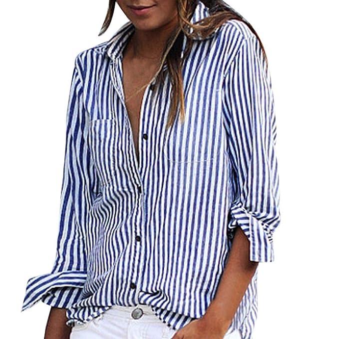 Camisetas Long Corto para Mujer❤️EUZeo❤️Casual Suelto Rayas botón T Shirt Elegante Top