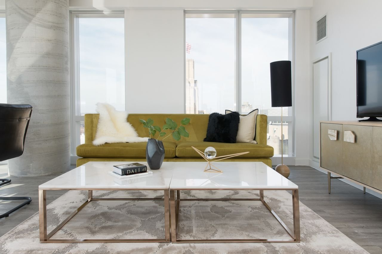 Edloe Finch White Marble Coffee Table Modern Rose Gold Coffee