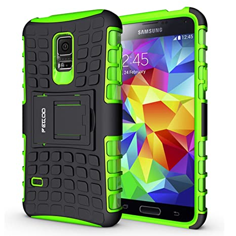 Samsung Galaxy S5 mini ,Pegoo Shockprooof Impact Resistant Hybrid Heavy Duty Dual Layer Armor Hard Plastic and Soft TPU With a Kickstand bumper ...