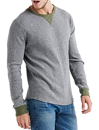 49021b1860 Lucky Brand Men s Two Tone Thermal Knit Crewneck Long Sleeve Shirt Heather  Grey Green (Small