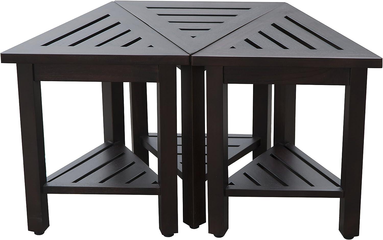 DecoTeak FlexiCorner - Banco de ducha y mesa de madera de teca modular triangular (43 cm), 17x14.5x18, Marrón: Amazon.es: Salud y cuidado personal