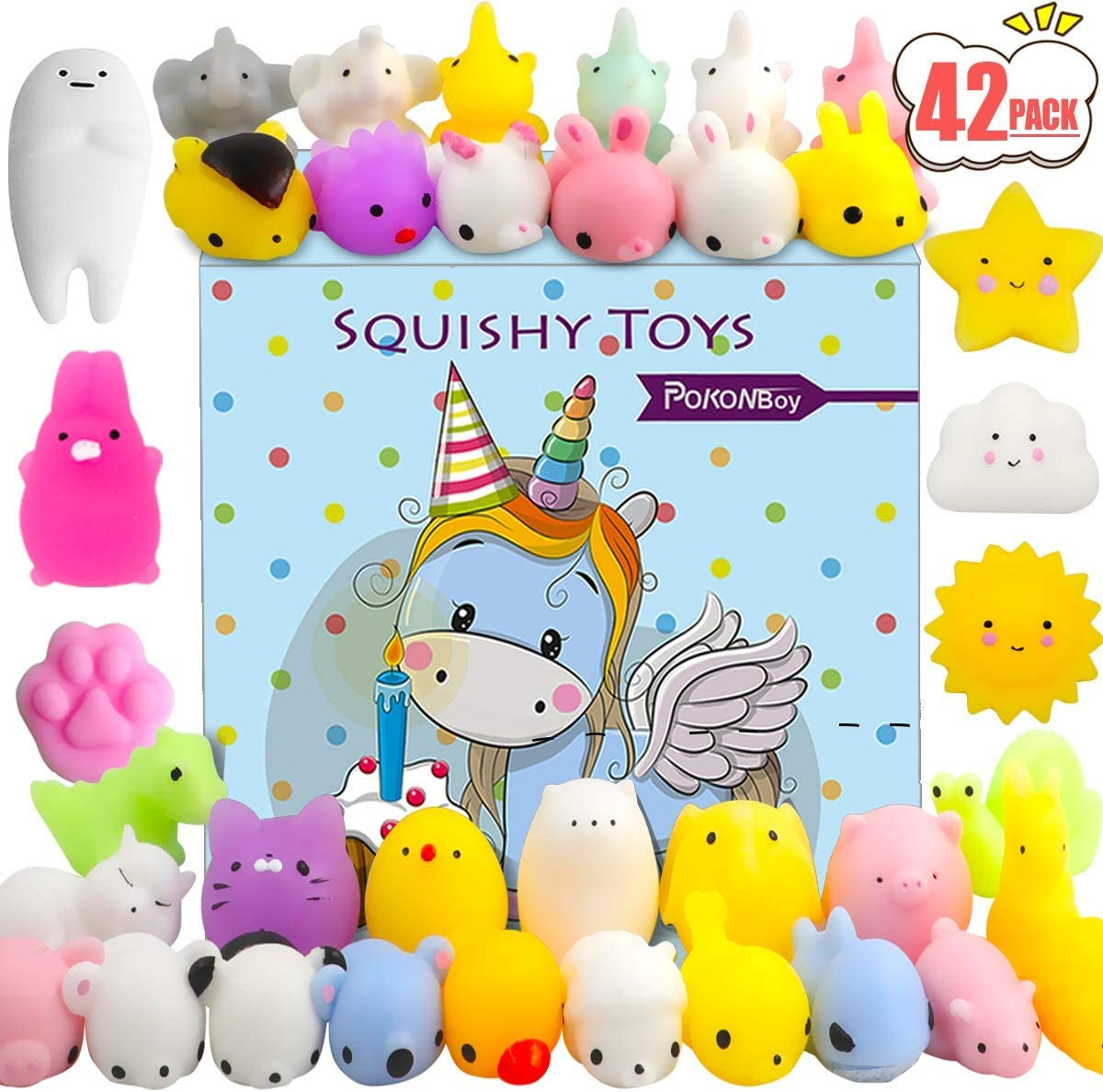 POKONBOY 42 Pcs Mini Mochi Squishies Toys, Mochi Squishy Toy Stress Reliever Toys Party Favors for Kids Boys Girls