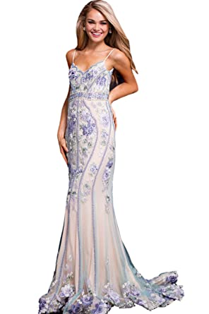 b6a74ee14fb Jovani Prom 2018 Dress Evening Gown Authentic 55816 Long Multi Nude at  Amazon Women s Clothing store
