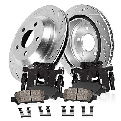 CCK02324 FRONT Powder Coated Black [2] Remanufactured Calipers + [2] Zinc Plated D/S Rotors + [4] Ceramic Brake Pads: Automotive