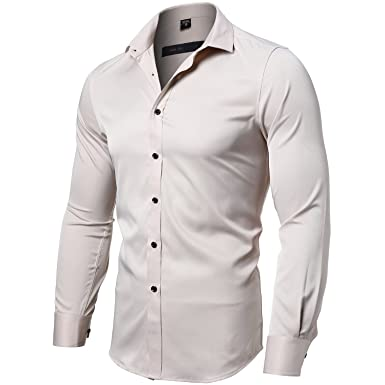 cbbd43e63e244 INFLATION Mens Bamboo Dress Shirt Slim Fit Long Sleeve Elastic Formal Shirt  Casual Solid Button Down