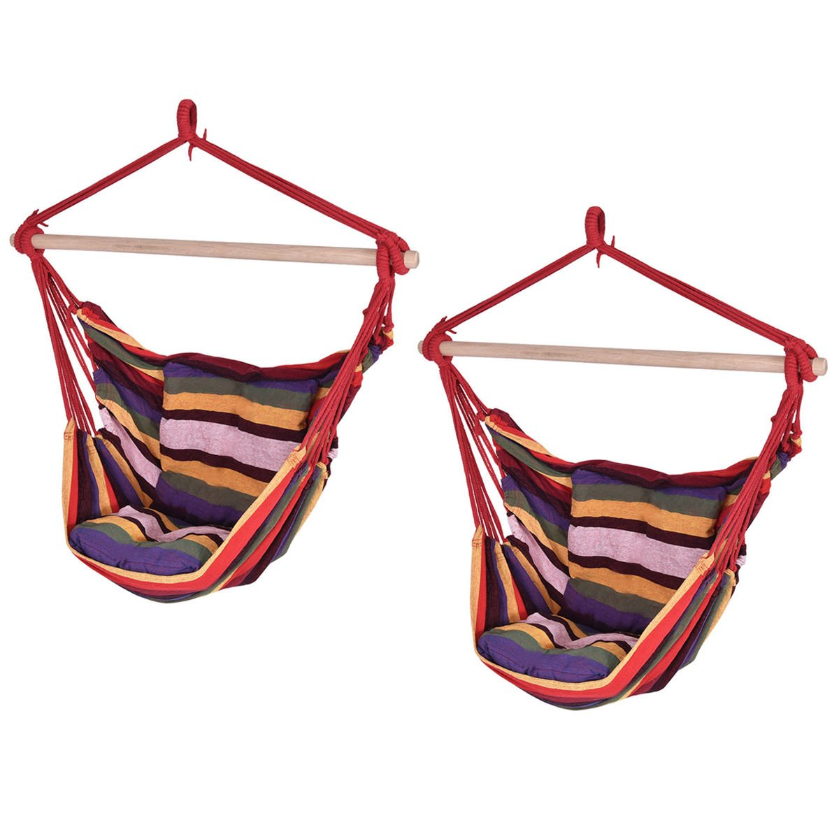 Red Deluxe Hammock Rope Chair Patio Porch Yard Tree Hanging Air Swing Patio Set of 2