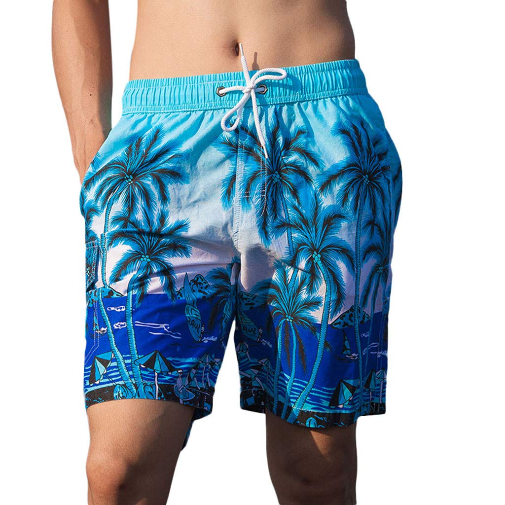 NUWFOR Men's Printed Double-Pocket with One Middle Pocket Loose Elastic Rope Beach Pants(Blue,US XS Waist:26.77-38.58'')