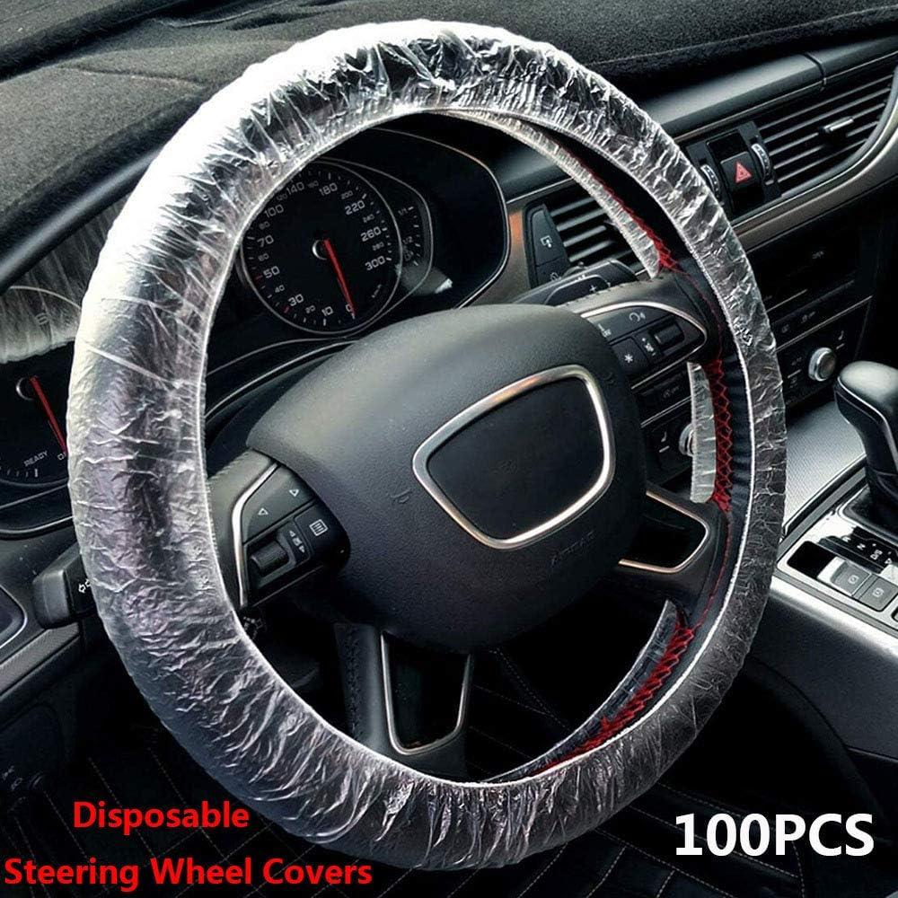 Aise 100 Stück Set Elastic Plastic Anti Staub Lenkrad Abdeckung Universal Einweg Lenkradabdeckung Für Car Clear Küche Haushalt