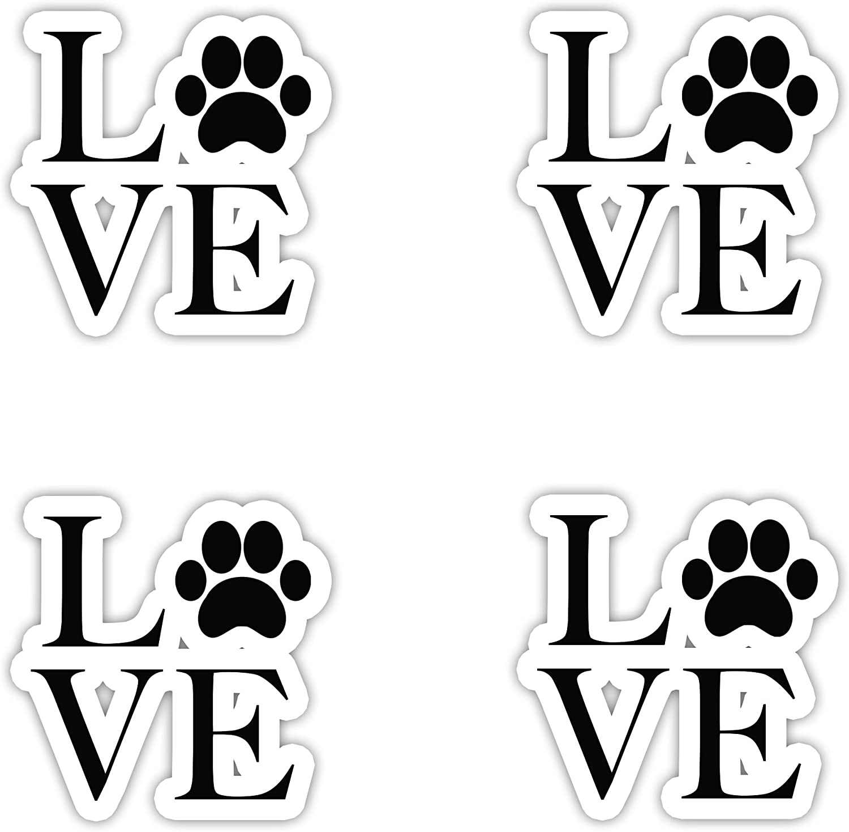 "I Love Dogs Sticker - Vinyl Decal - Laptop, Decor, Window Vinyl Decal Sticker - (4 Stickers Each 2"" Vinyl Decal)"