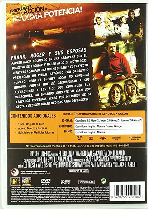 Carrera Con El Diablo [DVD]: Amazon.es: Peter Fonda, Warren Oates, Varios, Jack Starret: Cine y Series TV