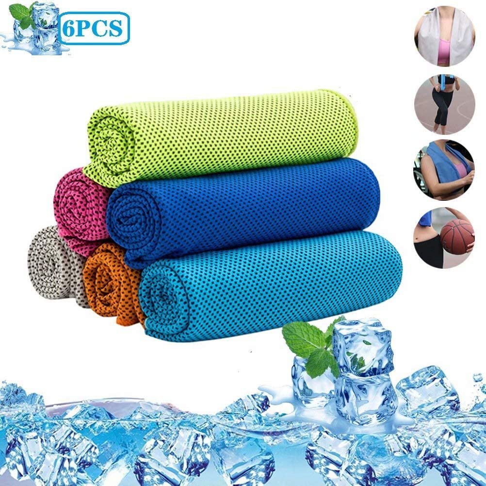 WAQIAGO 6PCS Cooling Towels for Neck, Ice Towel Chilly Cool Towel, Instant Chill Cooling Cloth as Cool Rags for Neck Cooling Wrap, Neck Cooler