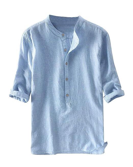 8c564e93dc6467 Herren Leinen T-Shirt 3 4 Ärmel Top Shirt Casual Hemden Oberteile   Amazon.de  Bekleidung