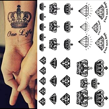 69da1e9b9 Amazon.com : Bifast Waterproof Crown-shaped Metallic Fake Temporary Tattoos  - Semi Permanent, Henna Tattoo Temporary Tattoos : Beauty