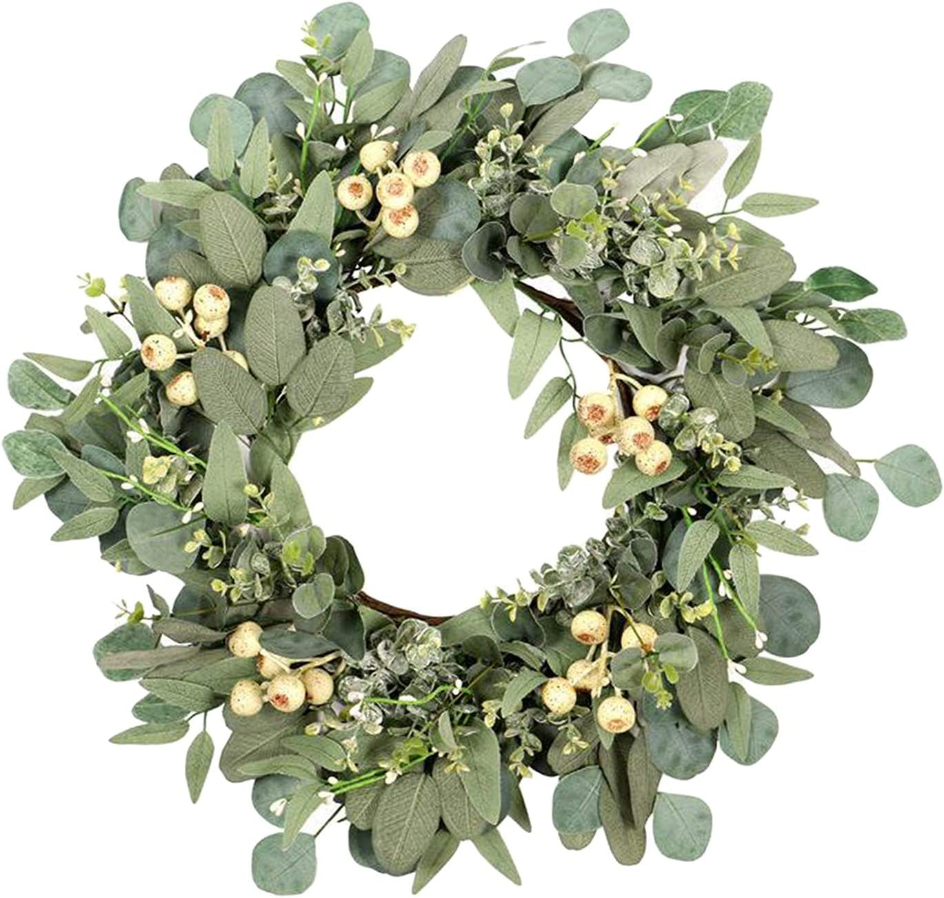 Flameer Artificial Front Door Wreath 22 Large Green Leaves Wreath Farmhouse Greenery Garland for Hanging Wall Window Party Decoration