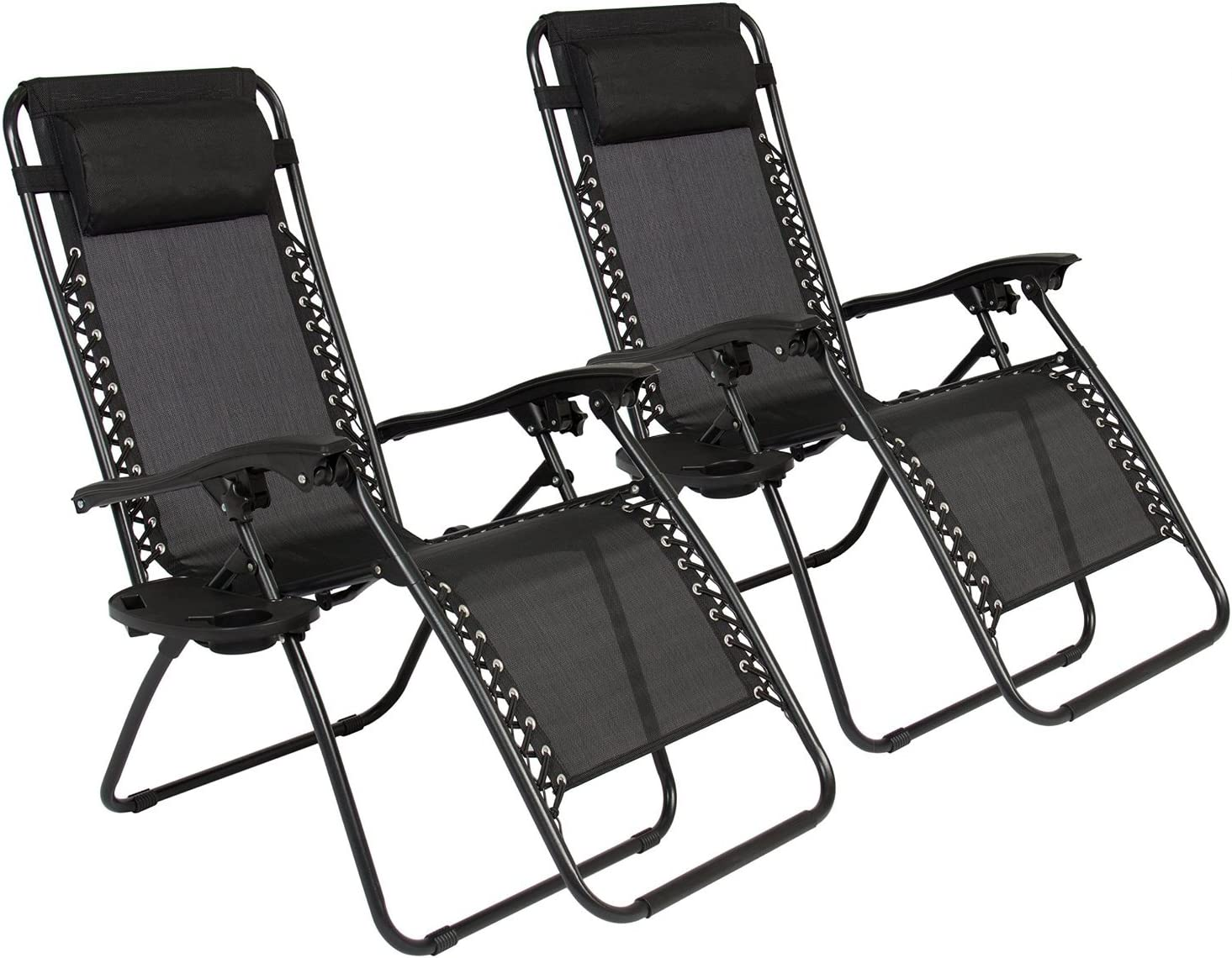 Oshion 1 Pair Zero Gravity Chairs Black Lounge Patio Chairs Outdoor Yard Beach New Black