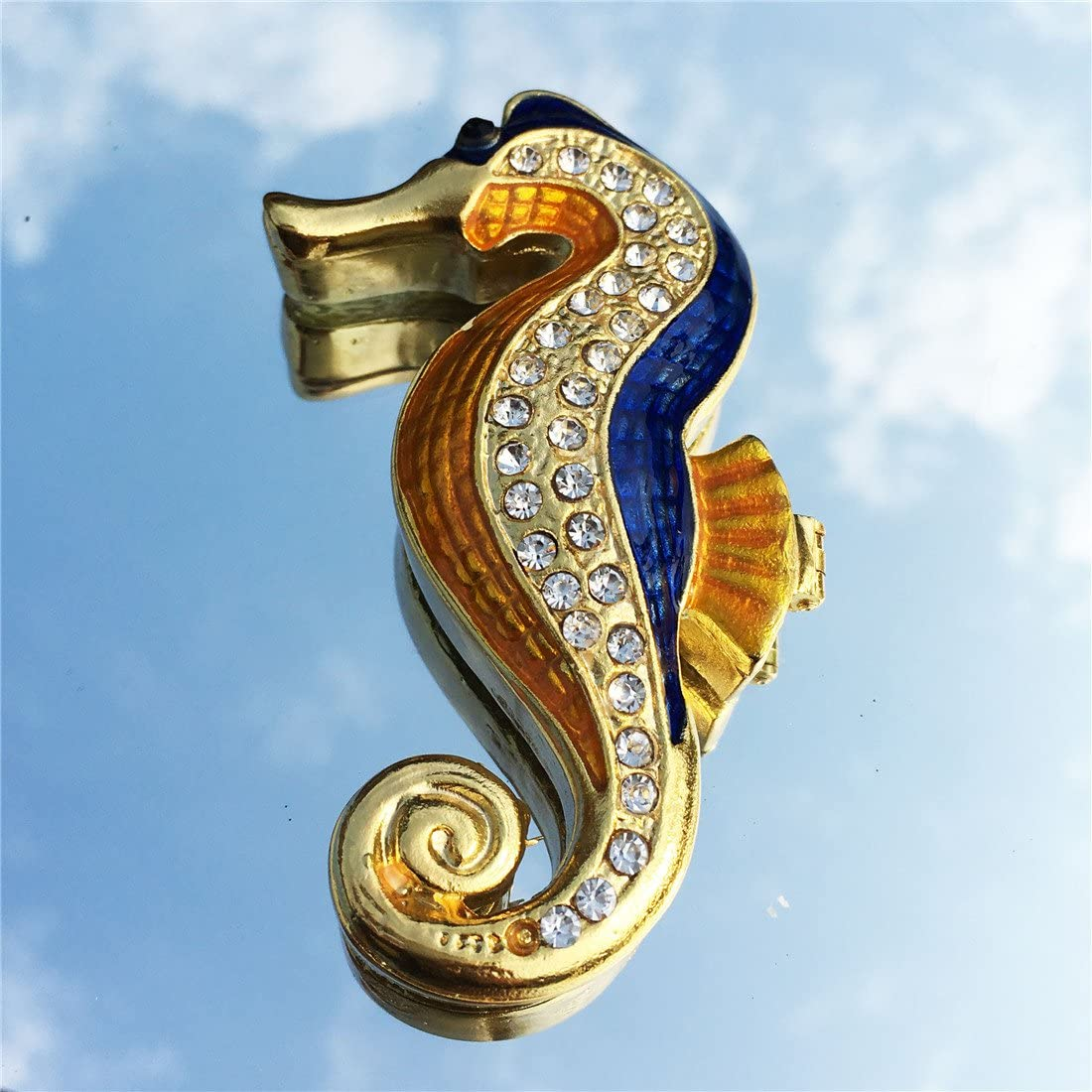 Waltz/&F Golden Hippocampus Trinket Box Hinged Hand-Painted Figurine Collectible Ring Holder with Gift Box