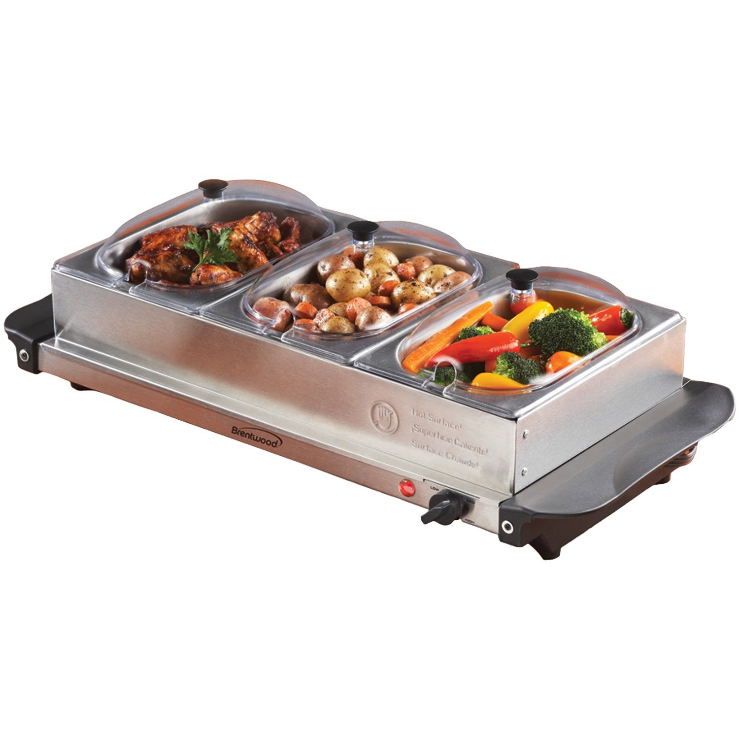 Brentwood BF-315 4.5-Quart 3 Pan Buffet Server and Warming Tray, Brushed Stainless Steel