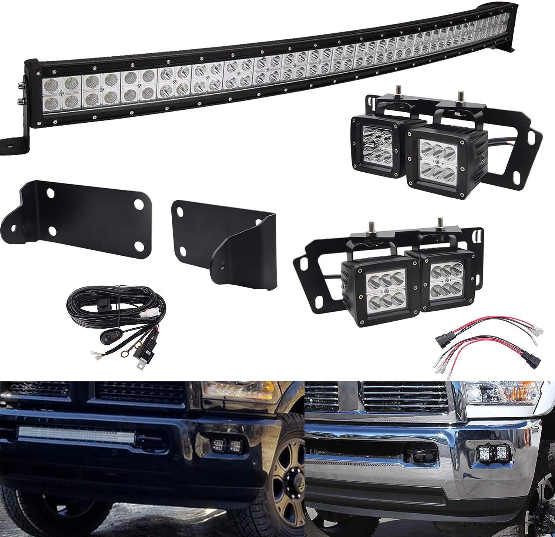 40 inch Curved LED Light Bar Kit Compatible with 2010-2019 Dodge Ram 2500 3500, 240W Light Bar Flood/Spot Combo Beam Hidden Bumper Mount Bracket Kit + 4x 3 inch Dually Fog Light Pod Mount Bracket Kit