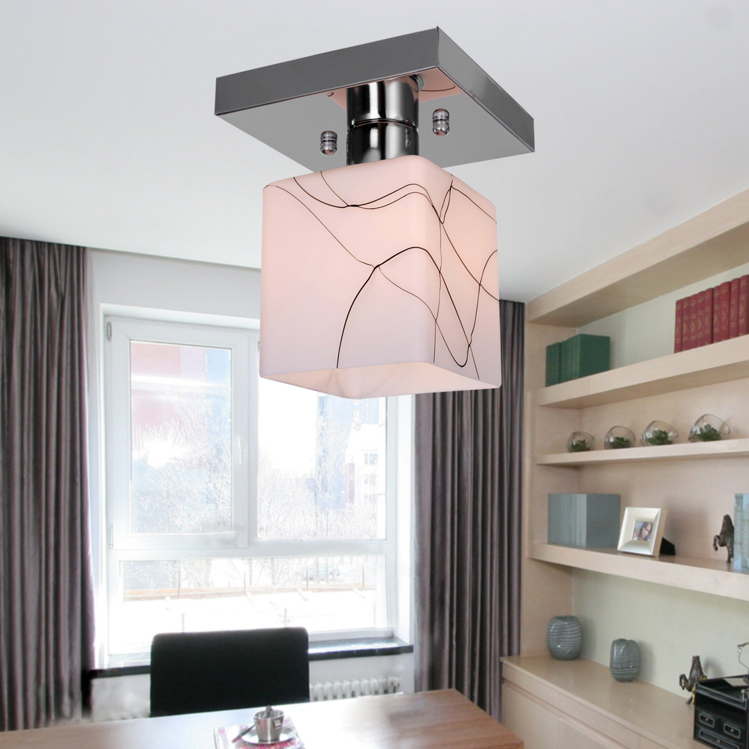 Lightintheboxstainless steel ceiling light in cube shape modern stainless steel ceiling light in cube shape modern mini style flush mount for kitchen flush mount ceiling light fixtures amazon aloadofball Image collections