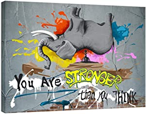 Visual Art Decor Inspirational Quote Little Ant Lifts The Huge Elephant You are Stronger Than You Think Canvas Prints Poster Ready to Hang Creative Success Graffiti Home Office Decoration