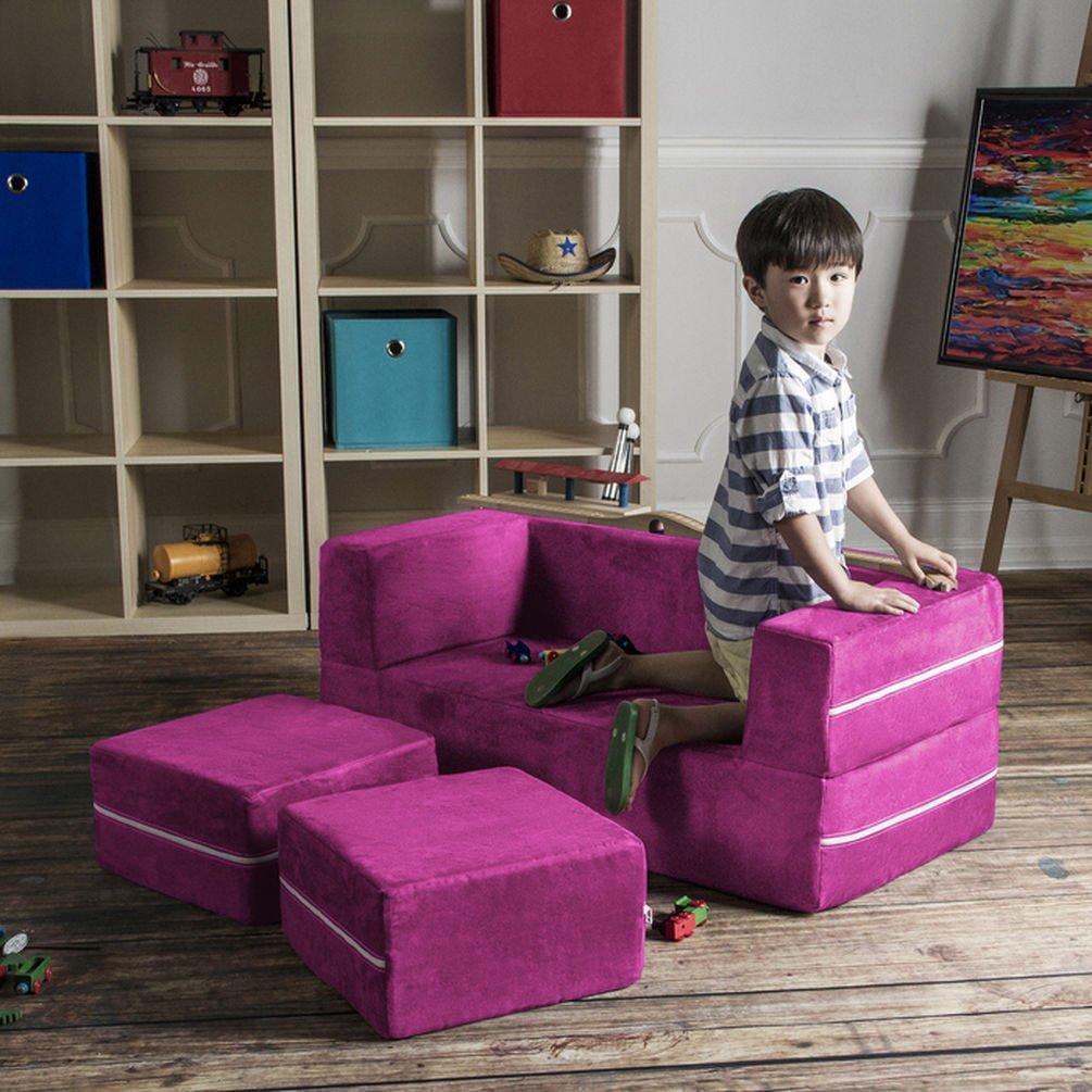 Jaxx Zipline Modular Kids Loveseat with フクシャ ピンク B010TEA8NA 16767470 Ottomans AL完売しました。 送料0円