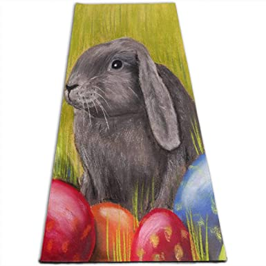 Amazoncom Yoga Mat Easter Bunny Painting Cool 14 Inch Thick