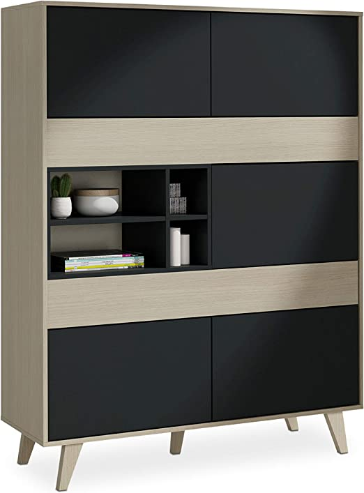 Habitdesign 0Z6636R - Mueble aparador Vitrina, Acabado Color Roble ...