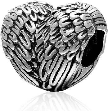 Argent Sterling 925 Aile Charm – Plume Cœur Charm Ange Charm pour Bracelet  à Breloques Pandora