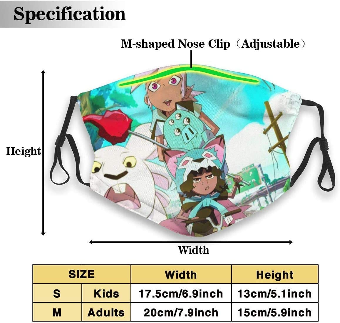 KIPO and The Age of Wonderbeasts 1 Unisex Washable Reusable Decorative bandanass Adjustable Earloop for Youth