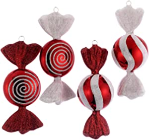 """6"""" RED/WHITE CANDY ORNAMENT SET OF 4"""