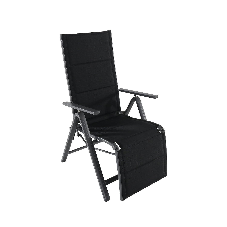 Relaxsessel Gartensessel Gartenmöbel Aluminium schwarz anthrazit 94,5x16x62,5cm