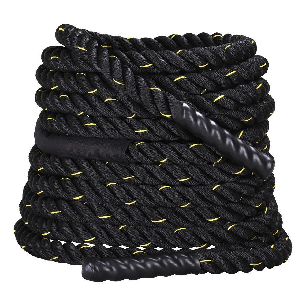 Yaheetech 1.5'' Width 50' Length FDY Battle Rope Workout Training Undulation Power Training Rope Fitness Rope Exercise Rope Black
