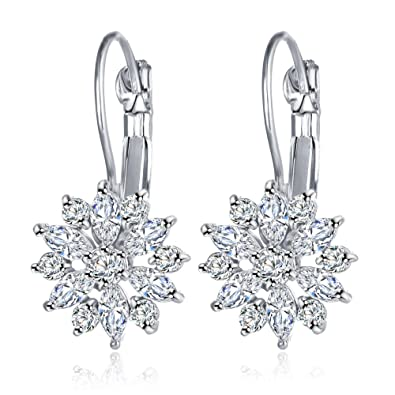 e19f0da57 Mac Lawrence Silver AAA American Diamond CZ Silver Plated Zircon Crystal  Flower Dangle and Drop Earrings