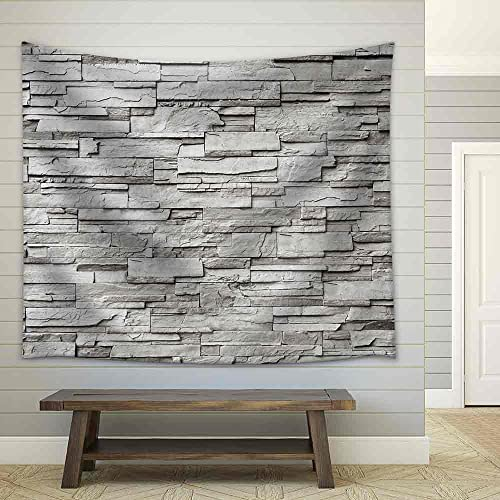 wall26 – The Gray Modern Stone Wall – Fabric Wall Tapestry Home Decor – 68×80 inches