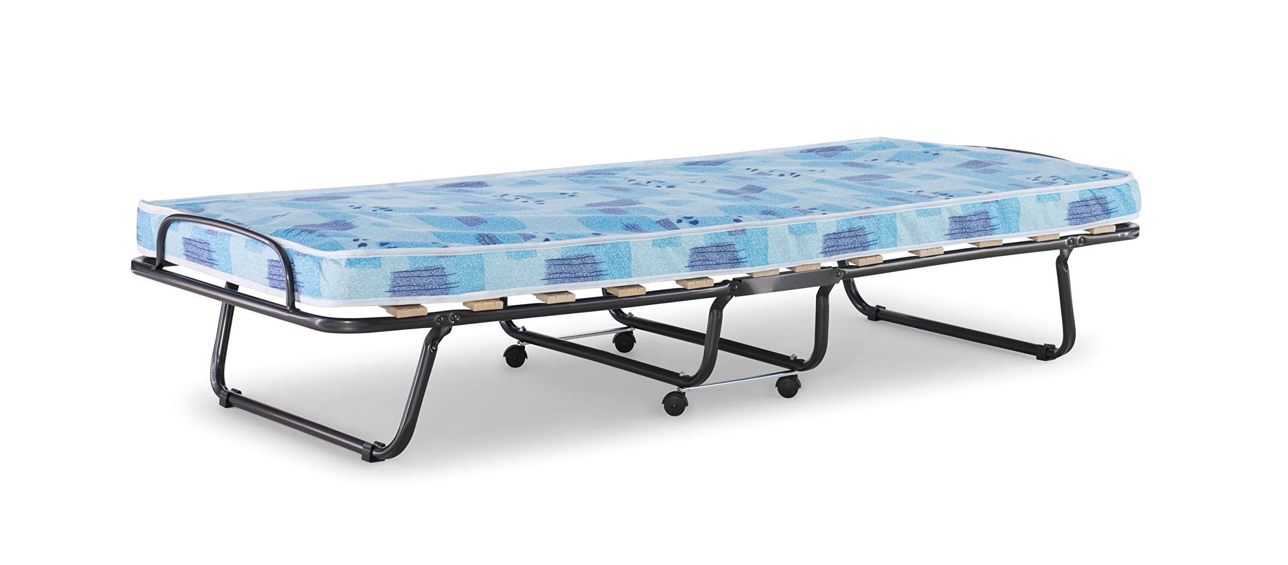 Linon 358ROMA-01-AS-U Folding Bed, Roma, Twin, Blue And White