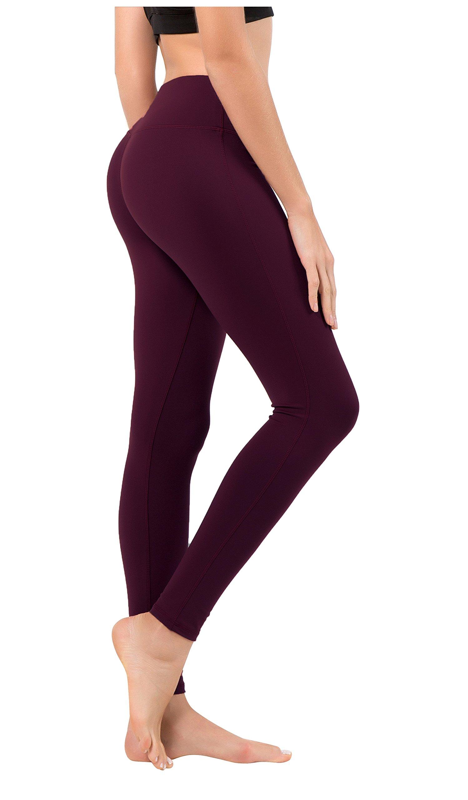 Queenie Ke Women Mid-Waist Phone Back Pockets Sport Legging Yoga Pants Running Tights Size XS Color Dark Rose Red