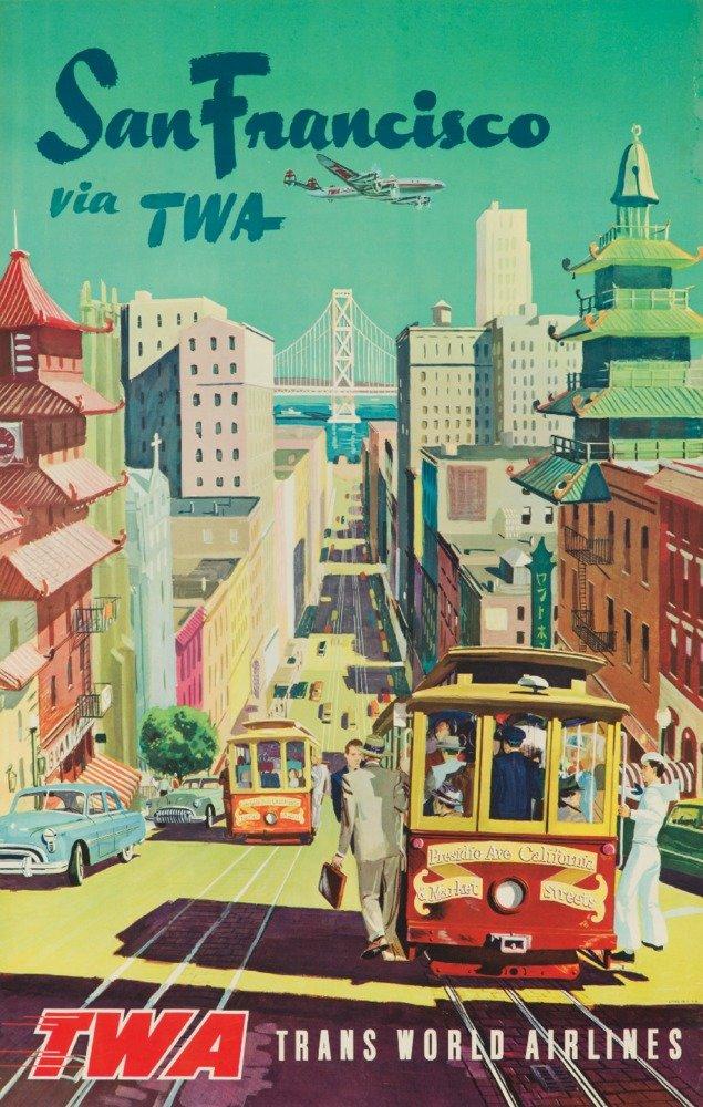いいスタイル Twa – San 12 FranciscoヴィンテージポスターUSA C Print。1954 12 Canvas Tote Bag LANT-63106-TT B017Z78A7A 12 x 18 Art Print 12 x 18 Art Print, 印刷広場:37e51922 --- arianechie.dominiotemporario.com