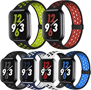 OriBear Compatible for Apple Watch Band 44mm 42mm, Breathable Sporty for iWatch Bands Series 4/3/2/1, Various styles and colors for Women and Men(M/L,6 Pack B)