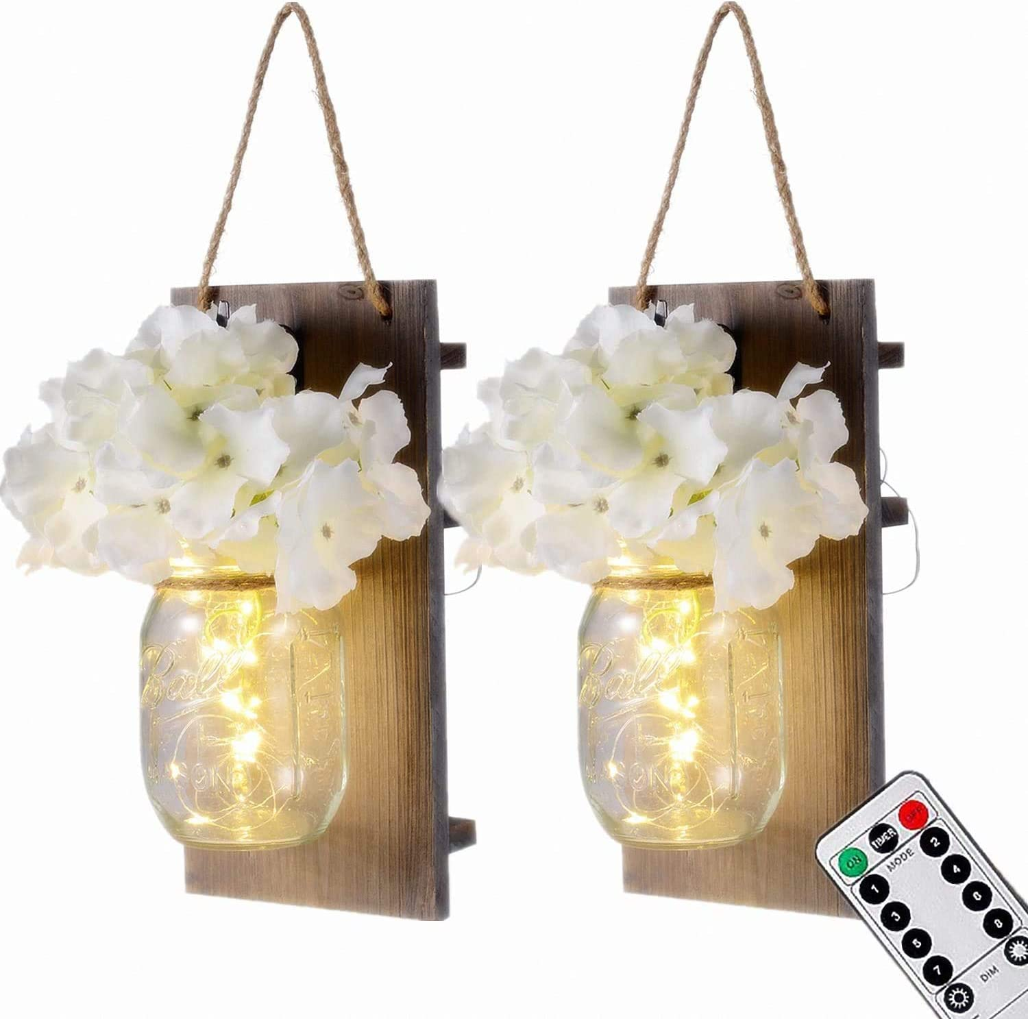 Lightess Mason Jar Wall Lights With Remote Control Rustic Bedroom Wall Decor Hanging Battery Powered Jar Sconce With Led Fairy Lights For Farmhouse Decor Sya11 Set Of 2 Amazon Ca Tools Home