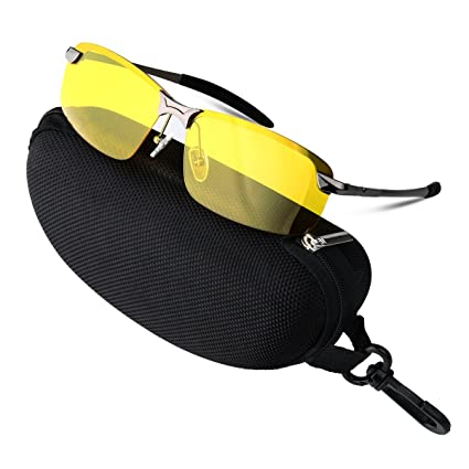 08149a1369 COOXER Night Driving Glasses Anti-Glare Polarized - HD Vision Sports Style  Yellow Tint Polycarbonate