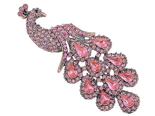 14a4594b1a6 Alilang Copper Tone Shine Rose Pink Crystal Rhinestones Peacock Bird Brooch  Pin