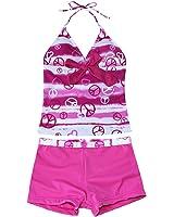 iEFiEL Big Girls Youth Peace Signs Heart Print 2 Piece Tankini Swimwear Swimsuit