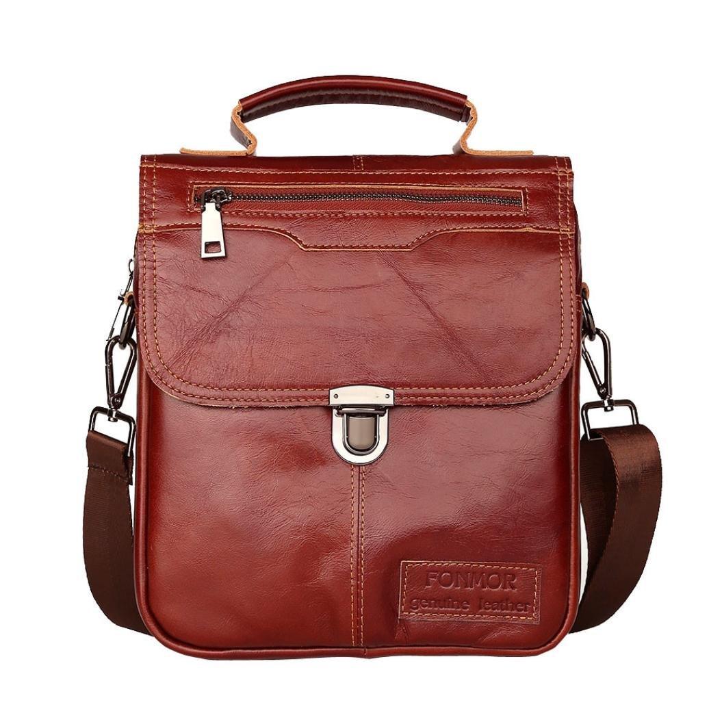 Todaies Men Business Leather Handbag Briefcase Crossbody Messenger Casual Shoulder Bag (25cm(L) 7cm(W) 22cm(H), Red)