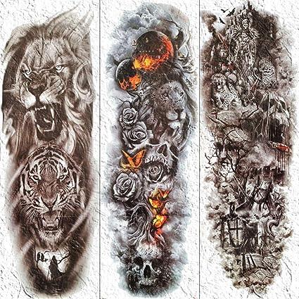 3D Hombres Brazo Completo Cuerpo Arte Tatuajes Temporal Fuego ...